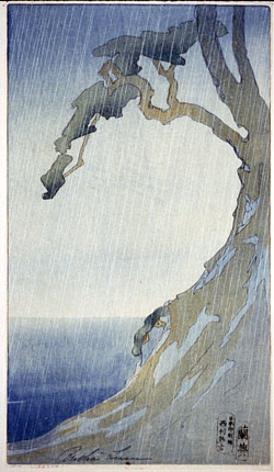 Image: [Embankment, showing bay in rainstorm], by Bertha Boynton Lum, 1914 or 1915