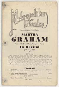 [Martha Graham, Metropolitan Theatre, June 2, 1930] [concert program]