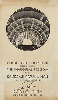 Radio Keith Orpheum Proudly Presents The Inaugural Program of the Radio City Music Hall [concert program]