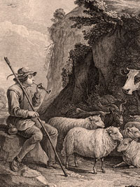 Detail from Le Berger Content (The Content Shepherd), probably by John Ingram, after a painting by David Teniers, 18th century