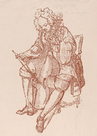 [The Bass Viol Player], reproduction of an original conté crayon drawing of 1707 by Bernard Picart, 20th century