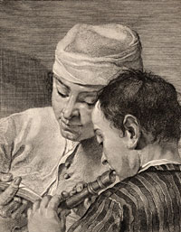 Detail from [The Recorder Lesson] by Giovanni Cattini, after a drawing by Giovanni Battista Piazzetta, 18th century