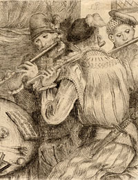 Drei Flötenspieler (Three Flute Players) possibly by Andries Pauli, or Pauwels, le vieux, 17th century