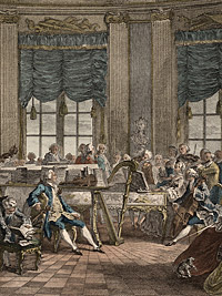 Detail from Le Concert (The Concert) by L. Provost, after an engraving by Antoine-Jean Duclos, based on a drawing by Augustin de Saint-Aubin, 19th century