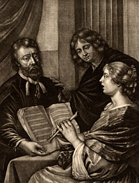 Detail from The Flute Lesson by Gerard Valck, after a mezzotint by Wallerant Vaillant, based on a painting by Gerard Pietersz. van Zyl, called Geraers, or Gerards Geraers, late 17th-early 18th century