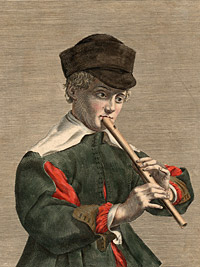 Detail from [Boy with recorder] by Jean Ganière, engraver, ?-1666, published by Nicolas Langlois, 17th century