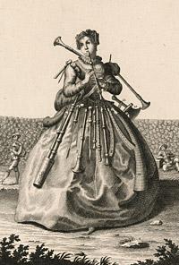Detail from Une faiseuse de flutte / Eine Pfeiffenmacherin (A Female Wind Instrument Maker) by Michael Rössler, published by Martin Engelbrecht, 18th century
