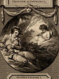 Detail from Love stole the pipe of sleeping Pan and play'd / Then with his voice decoys the listening Swain by James Heath, after a drawing by Thomas Stothard, 1779