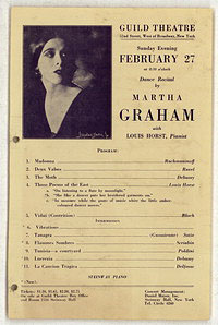 [Martha Graham, Guild Theatre, February 27, 1927]  [concert program]