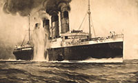 R.M.S. Lusitania, hit by torpedos off Kinsale Head, Ireland