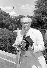 Gottlieb with his Speed Graphic camera, July 1997