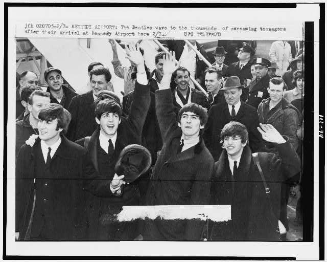 The Beatles landing in New York in 1964