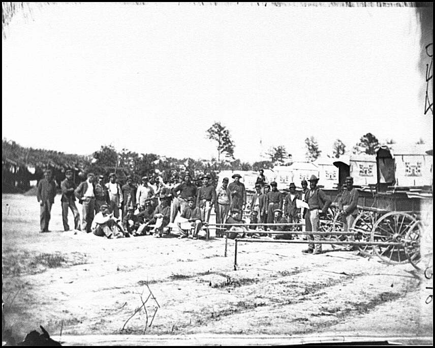 [Falmouth, Va. Men and wagons of the Engineer Corps ambulance train]