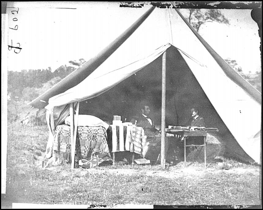 [Antietam, Md. President Lincoln and Gen. George B. McClellan in the general&#39;s tent; another view]