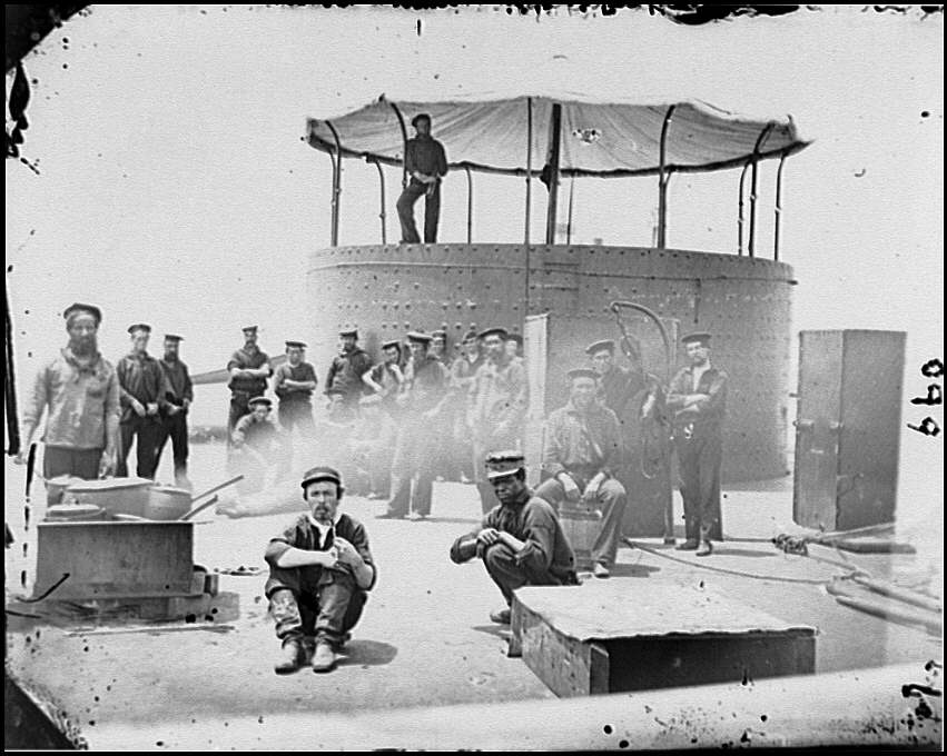 [James River, Va. Sailors on deck of U.S.S. Monitor; cookstove at left]