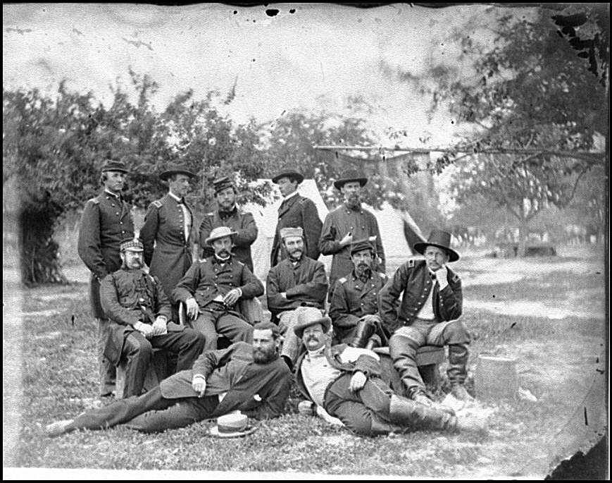 [Falmouth, Va. Lord Abinger (William F. Scarlett, 3d Baron Abinger, Lt. Col. Scots Fusilier Guards) and group at headquarters, Army of the Potomac]
