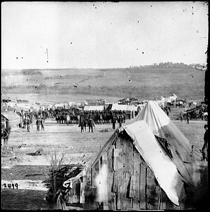[Fort Burnham, Va., vicinity. Camp of the 5th Pennsylvania Cavalry near the battlefield of Oct. 29, 1864]