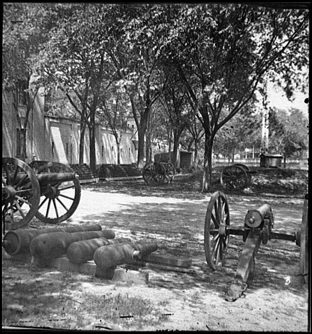 [Charleston, S.C. Blakely guns and ammunition in the Arsenal yard]