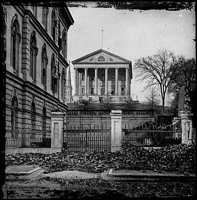 [Richmond, Va. Custom House (left) and Capitol (center); rubble in street]