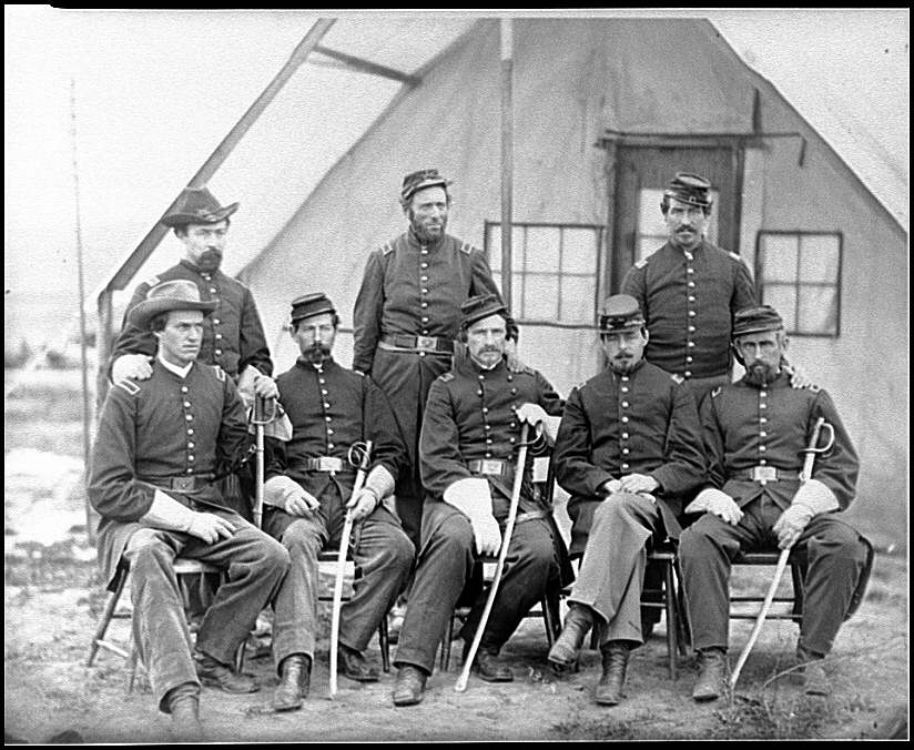 [District of Columbia. Maj. H. W. Sawyer and staff at Camp Stoneman]