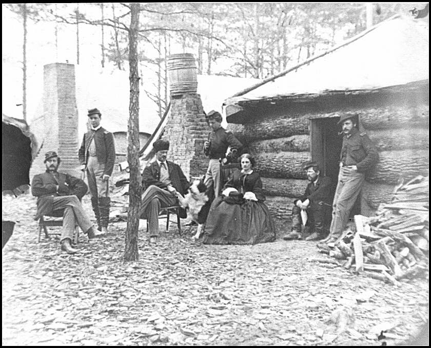 [Brandy Station, Va. Officers and a lady at headquarters of 1st Brigade, Horse Artillery]