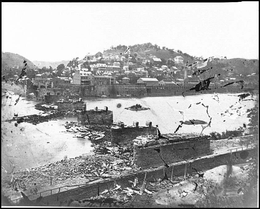 [Harper's Ferry, W. Va. View of town; railroad bridge in ruins]