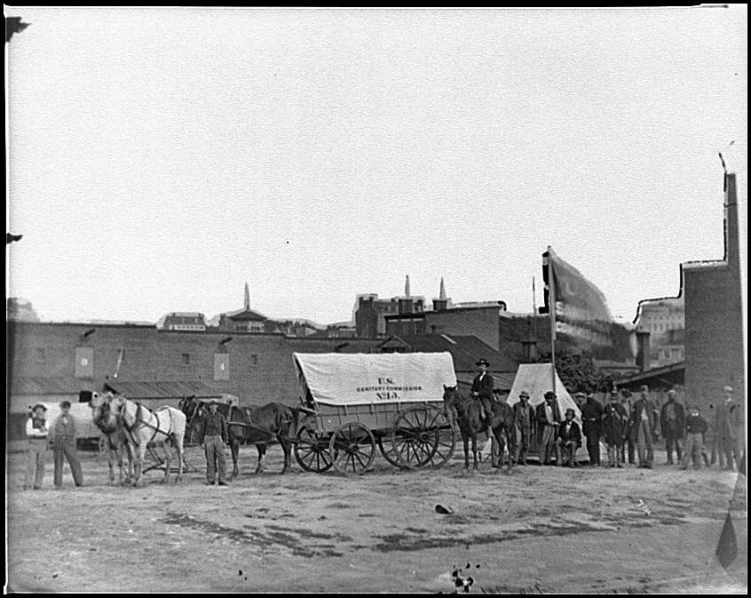 [Washington, D.C. Field relief wagons and workers of U.S. Sanitary Commission]