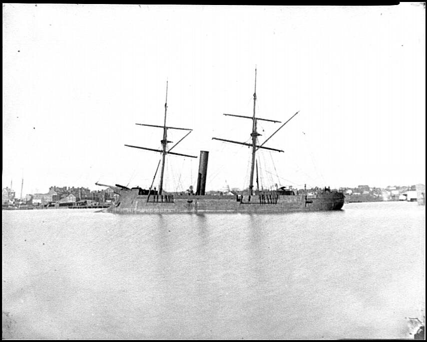 [Washington, D.C. Ex-Confederate iron-clad ram Stonewall at anchor; U.S. Capitol in the background]