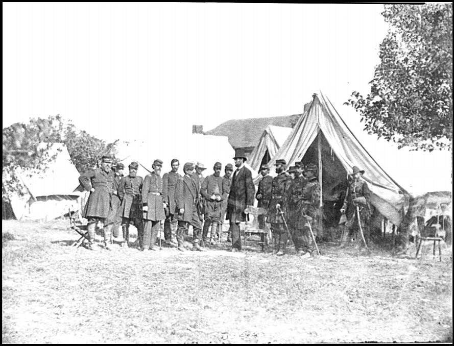 [Antietam, Md. President Lincoln with Gen. George B. McClellan and group of officers]