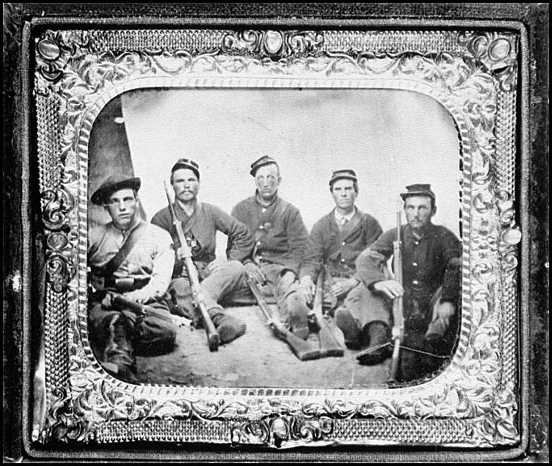 [Portrait of Pvt. William T. Carter (2nd from right in white collar) and group of 3rd Maryland Infantry]