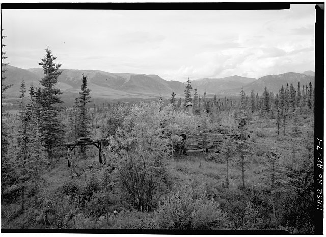 1.  OVERVIEW OF THE COMPLEX, LOOKING WEST FROM THE TAILINGS PILE - A. D. Wilcox Drift Mine, Linda Creek near Dalton Highway, Bettles, Yukon-Koyukuk Census Area, AK