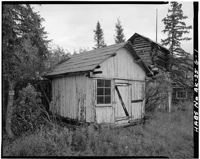 1.  STORAGE SHED, CACHE AND CABIN, LOOKING EAST - Vincent Knorr Homestead, Koyukuk River at Wiseman Creek, Bettles Vicinity, Wiseman, Yukon-Koyukuk Census Area, AK