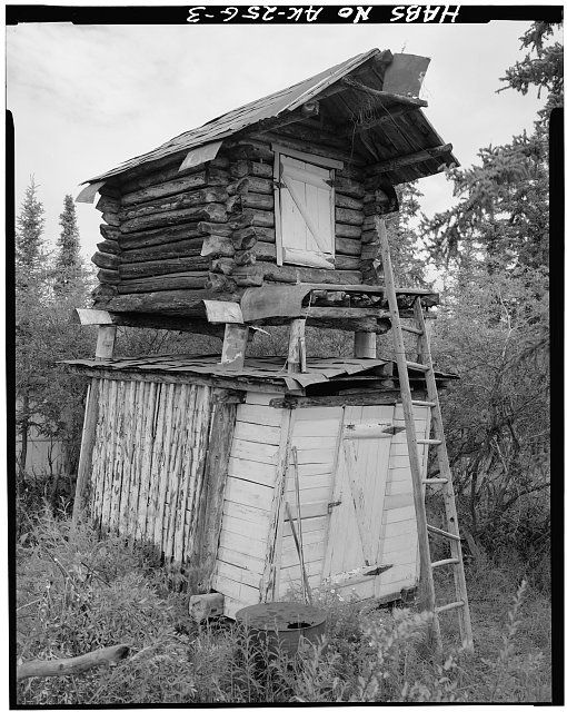 3.  CACHE, LOOKING NORTHWEST - Vincent Knorr Homestead, Koyukuk River at Wiseman Creek, Bettles Vicinity, Wiseman, Yukon-Koyukuk Census Area, AK