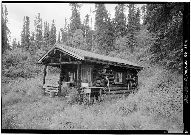 2.  FRONT CORNER OF CABIN, LOOKING SOUTHWEST (5' x 7' negative) - Pearson Cabin, near Toklat River, Cantwell, Denali Borough, AK