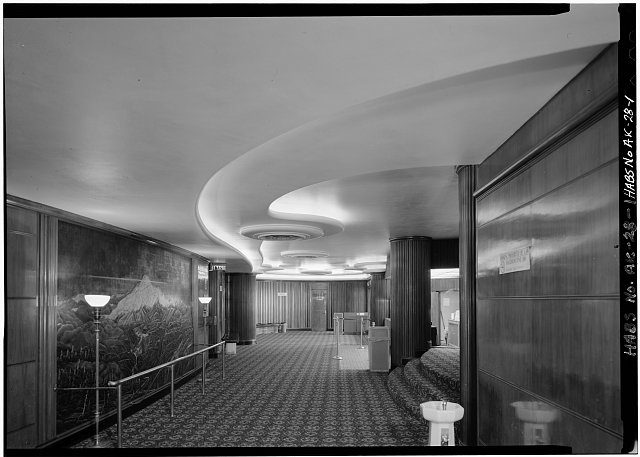 1.  LOBBY, LOOKING EAST, SHOWING MT. MCKINLEY MURAL - Fourth Avenue Theatre, 630 West Fourth Avenue, Anchorage, Anchorage, AK