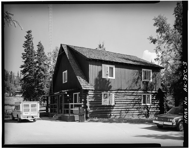 3.  REAR CORNER, LOOKING NORTHEAST - Mount McKinley Headquarters, Administration Building, Cantwell, Denali Borough, AK