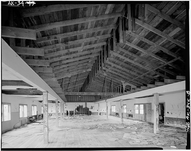 8.  INTERIOR, SECOND FLOOR, SHOWING ROOF FRAMING - Naval Operating Base Dutch Harbor & Fort Mears, Marine Barracks, Unalaska, Aleutian Islands, AK