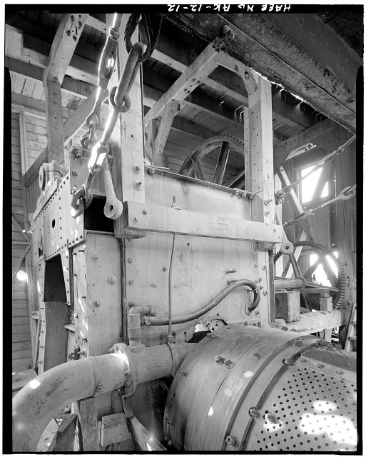 12.  COLLECTION BOX BENEATH FRONT CONVEYOR, LOOKING EAST - Jack Wade Dredge, Milepost 86, Taylor Highway, Chicken, Southeast Fairbanks Census Area, AK