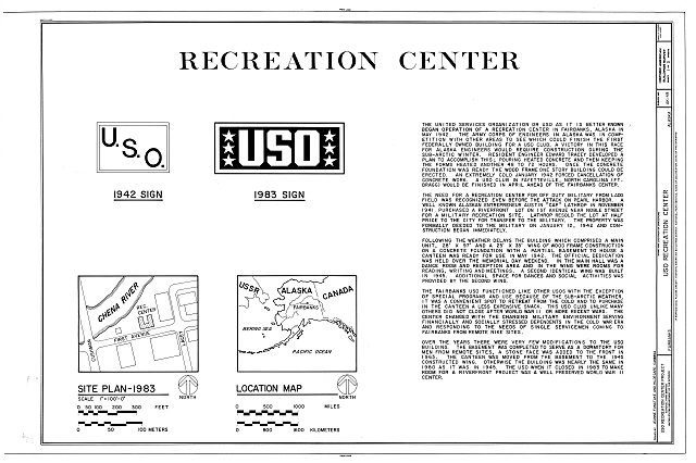 HABS AK,6-FAIBA,2- (sheet 1 of 3) - U.S.O. Recreation Center, First Avenue between Lacey & Cushman Streets, Fairbanks, Fairbanks North Star Borough, AK