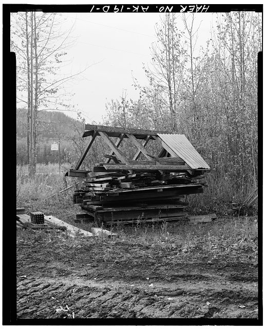 1.  OBLIQUE VIEW OF ROOF PARTS, LOOKING WEST - Eska Coal Mine, Roof Parts, Wishbone Hill, Sutton, Matanuska-Susitna Borough, AK