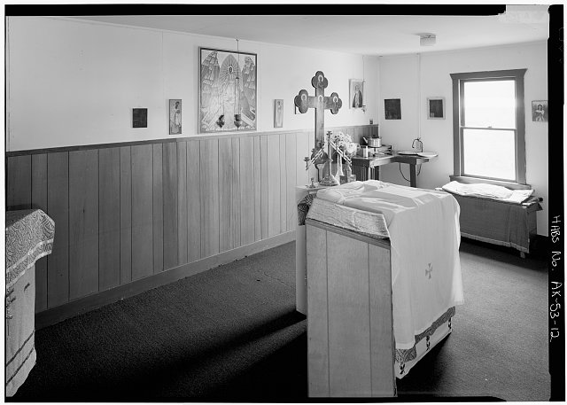 12.  INTERIOR, SANCTUARY, LOOKING SOUTHEAST - Three Saints Russian Orthodox Church, Kodiak Island, Old Harbor, Kodiak Island Borough, AK