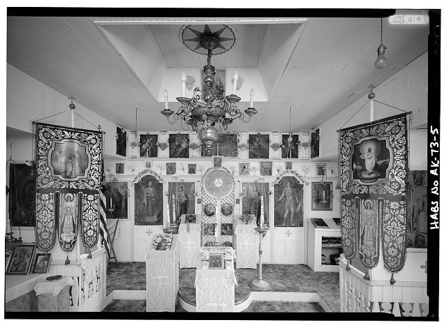 5.  INTERIOR, NAVE, LOOKING EAST AT ICONOSTAS - St. Alexander of Nevsky Russian Orthodox Church, Akutan, Aleutians East Borough, AK