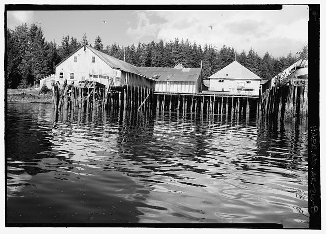 8.  View of cannery, pilings and processing building - Kake Salmon Cannery, 540 Keku Road, Kake, Wrangell-Petersburg Census Area, AK