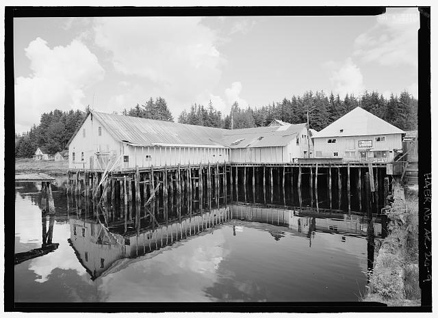 9.  Cannery processing building, left and office store right. Tkane from dock - Kake Salmon Cannery, 540 Keku Road, Kake, Wrangell-Petersburg Census Area, AK