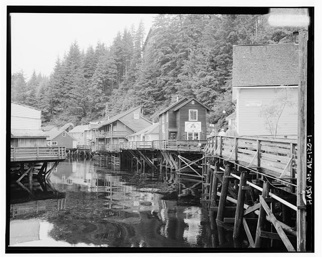 1.  CREEK STREET, LOOKING NORTH, DOLLY'S HOUSE ON RIGHT - City of Ketchikan, Ketchikan, Ketchikan Gateway Borough, AK