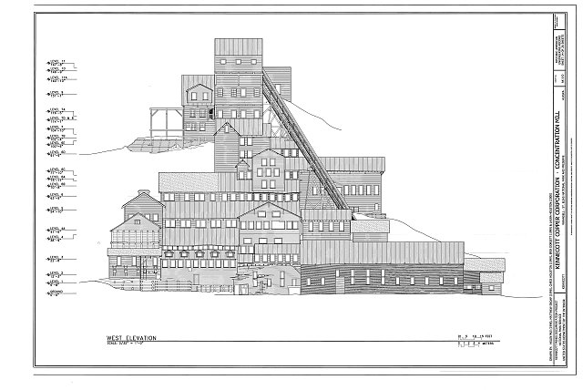 West Elevation - Kennecott Copper Corporation, Concentration Mill, On Copper River &amp; Northwestern Railroad, Kennicott, Valdez-Cordova Census Area, AK