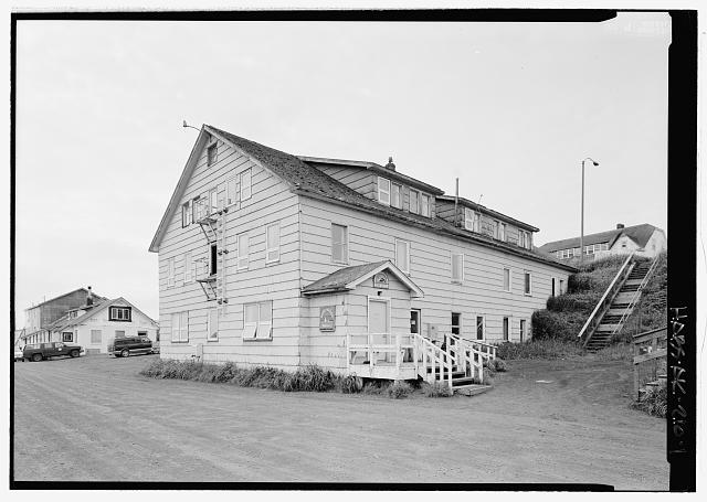 Front view, looking southwest - King Eider Hotel, Tolstoi Boulevard, Saint Paul, Aleutians West Census Area, AK