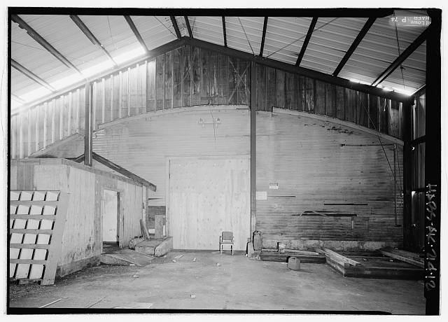 Interior view looking north in center room, of original south exterior wall of equipment garage - Equipment Garage & Machine Shop, Haul Road, Saint Paul, Aleutians West Census Area, AK