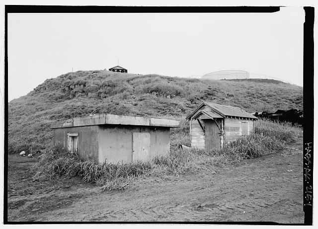 Front view, looking southwest - Salt Water (Brine) Well Houses, Haul Road, Saint Paul, Aleutians West Census Area, AK