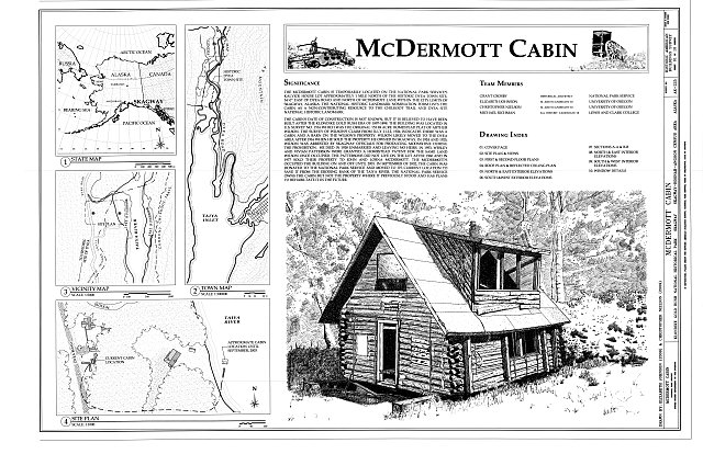 Cover Sheet - McDermott Cabin, Town of Dyea (historical town site), Skagway, Skagway-Hoonah-Angoon Census Area, AK